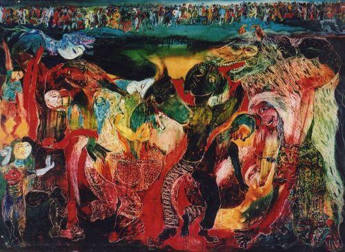 Nasirun - 1997 - Jatilan (200x145) Oil Paint on Canvas. Dokumentasi Edwin's Gallery (archive.ivaa-online.org)