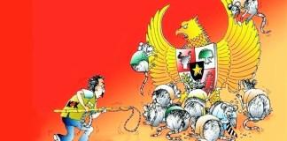 Lukisan Karikatur Anti Korupsi (Edisi Unlimated), 48cm x 31 cm. Karya Abdul Adjis (karikaturis Jawa pos). Sumber: Kaskus