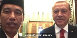 Presiden Joko Widodo bersama Presiden Turki Recep Tayyip Erdogan di Turki. Foto via YouTube/Vlog Jokowi