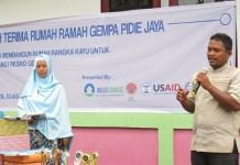 Acara Serah Terima Rumah Aman Gempa di Pidie Jaya. Foto Najmi/ Nusantaranews.co
