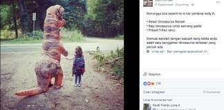 Viral, Seorang Ibu Antarkan Anak Sekolah dengan Kostum Dinosaurus. Foto: Dok. Fox News