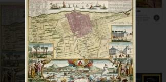 Peta Kota Batavia yang diterbitkan oleh Homannischen Erben pada 1733 ini menampilkan Kota Batavia dengan tembok kota dan pertahanan bentengnya, juga ilustrasi tentang warganya. (Teks: National Geographic Indonesia/ Foto: Rijksmuseum Amsterdam/Atlas of Mutual Heritage)