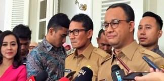 Gubernur dan Wakil Gubernur DKI Jakarta, Anies Baswedan-Sandiaga Uno. (Foto: Restu Fadilah/NusantarNews)