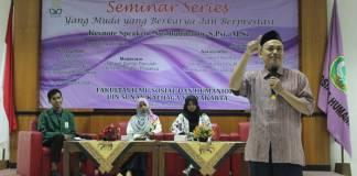 Salah satu narasumber seminar series bertemakan Yang Muda yang Berkarya dan Berprestasi di UIN Sunan Kalijaga Yogyakarta pada Selasa (28/11). Foto: Hendris Abdullah/Istimewa