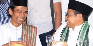 Cak Imin atau Ahmad Muhaimin Iskandar yang digadang-gadang menjadi Cawapres 2019 bersama Penceramah kondang Ust Abdul Somad di Salo, Kampar, Riau, Selasa (14/7/2017). Foto: Dok. Kabar Cak Imin/ NusantaraNews