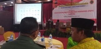 FKPT (Forum Koordinasi Pencegahan Terorisme) Lampung sukses gelar dialog pelibatan Komunitas Seni dan Budaya dalam pencegahan terorisme, di Hotel Horison, Bandarlampung, pekan lalu. Foto Riski Firmanto