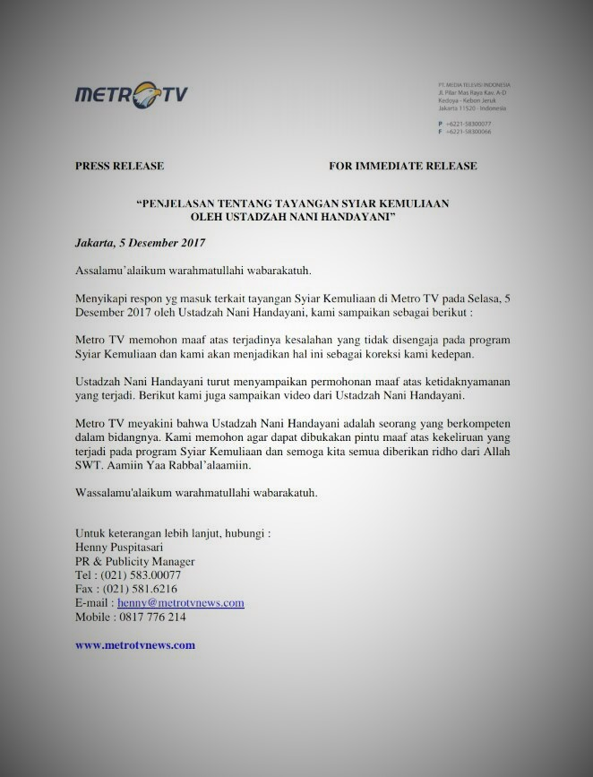 Permintaan maaf resmi Stasiun Metro TV