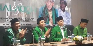 Ketum PPP Romahurmuziy saat hadiri rapimwil di Surabaya (Foto Tri Wahyudi/Nusantaranews)