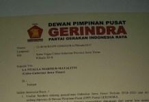 Surat dari Partai Gerindra (Prabowo Subianto0 untuk La Nyalla Mattaliti. Foto: Istimewa