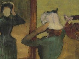 "Obj. No. 2001.27 Hilaire Germain Edgar Degas (French, 1834–1917) At the Milliner, ca. 1882-85 24¼""H × 29""W 61.6 cm × 73.66 cm Signed lower right, Degas Image must be credited with the following collection and photo credit lines: Virginia Museum of Fine Arts, Richmond. Collection of Mr. and Mrs. Paul Mellon Photo: Travis Fullerton © Virginia Museum of Fine Arts"