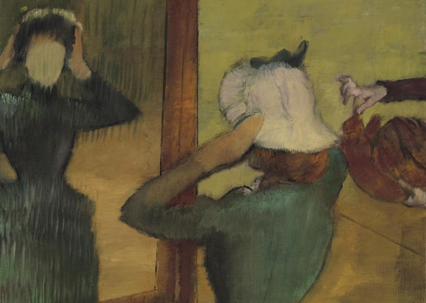"""Obj. No. 2001.27 Hilaire Germain Edgar Degas (French, 1834–1917) At the Milliner, ca. 1882-85 24¼""""H × 29""""W 61.6 cm × 73.66 cm Signed lower right, Degas Image must be credited with the following collection and photo credit lines: Virginia Museum of Fine Arts, Richmond. Collection of Mr. and Mrs. Paul Mellon Photo: Travis Fullerton © Virginia Museum of Fine Arts"""