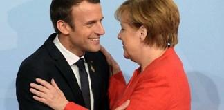 Kenselir Jerman Angela Merkel dan Presiden Prancis Emmanuel Macron/Foto: financial review