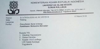 Surat bernomor B-1679/Un.02/R/AK.003/03/2018 tentang pencabutan pembinaan mahasiswi bercadar di UIN Sunan Kalijaga Yogyakarta. (Foto: Istimewa)