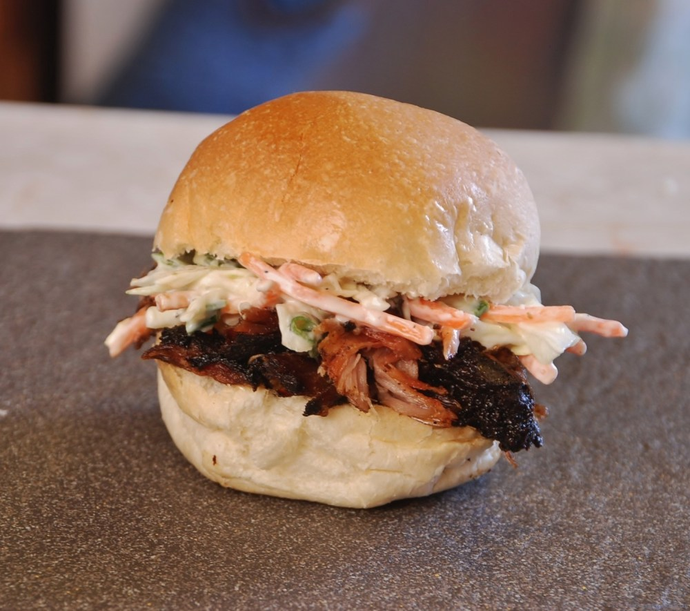 16 hour slow smoked pulled pork sandwich on Nutmeg Disrupted