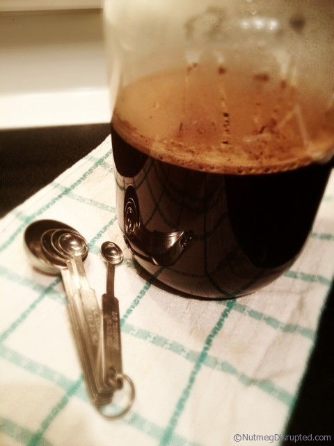 Brewing coffee concentrate for iced coffee.