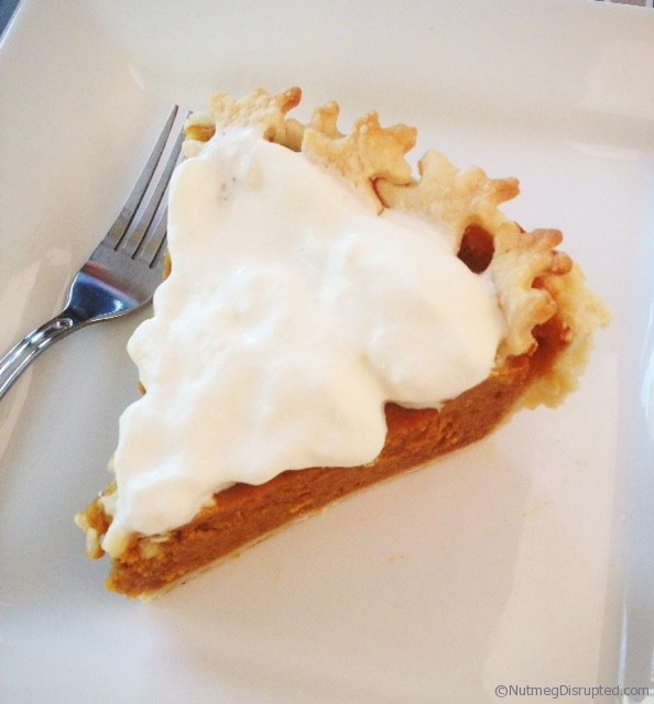 Pumpkin pie with whipped cream at Nutmeg Disrupted