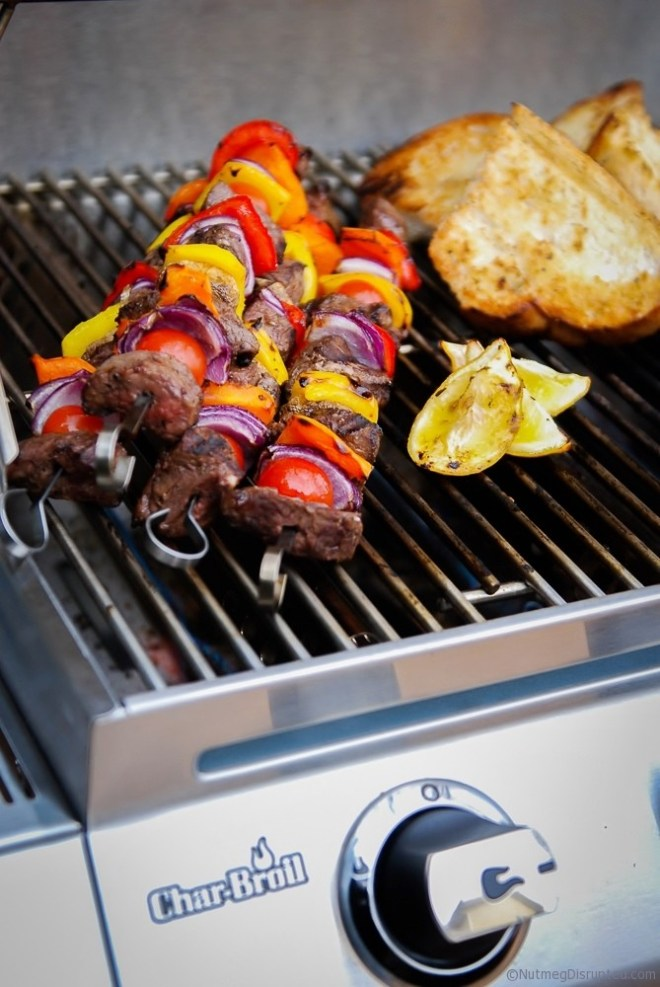Shish kabobs one on a BBQ from Char Broil by Nutmeg Disrupte