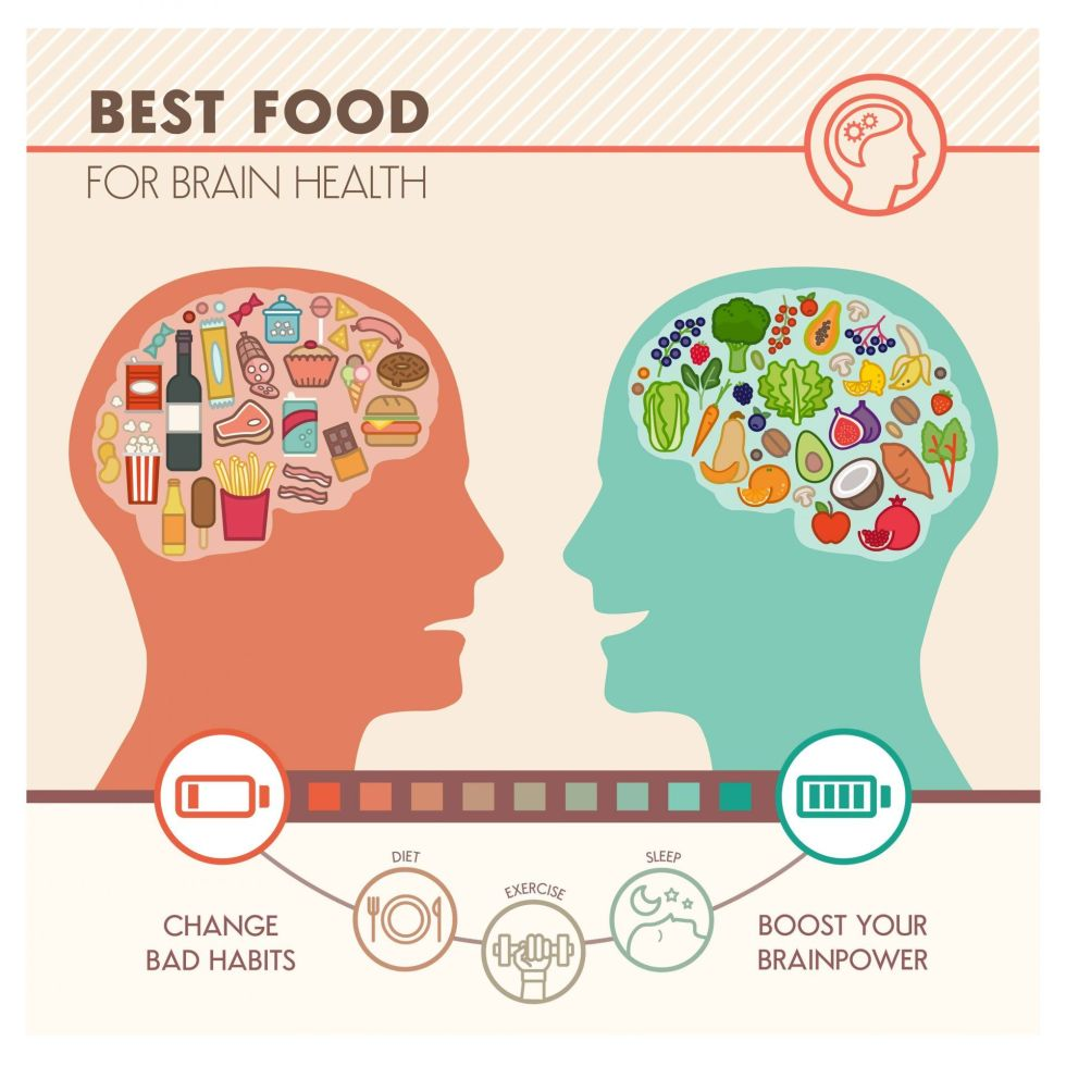 Best food for brain health infographic