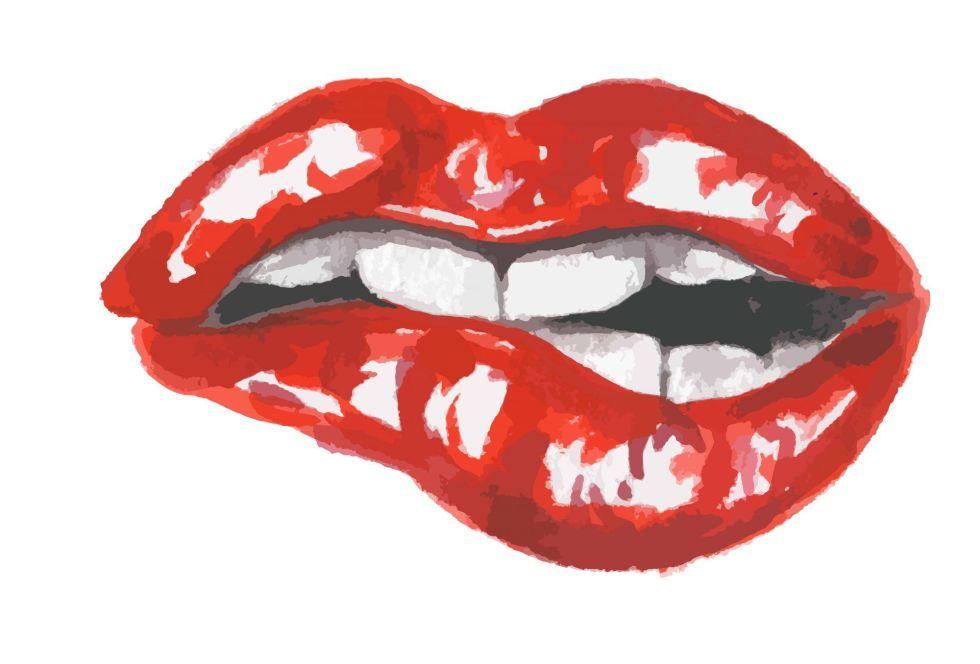 Watercolor biting lip