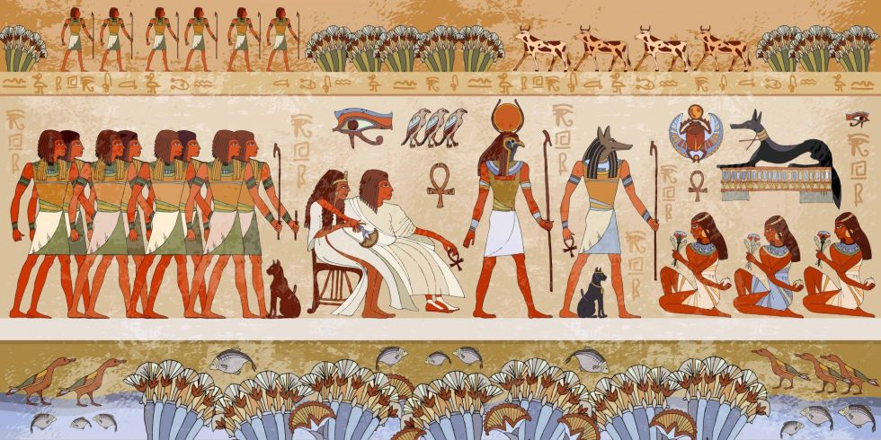 Egyptian gods and pharaohs. Ancient Egypt scene