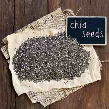 Chia seeds with small chalkboard