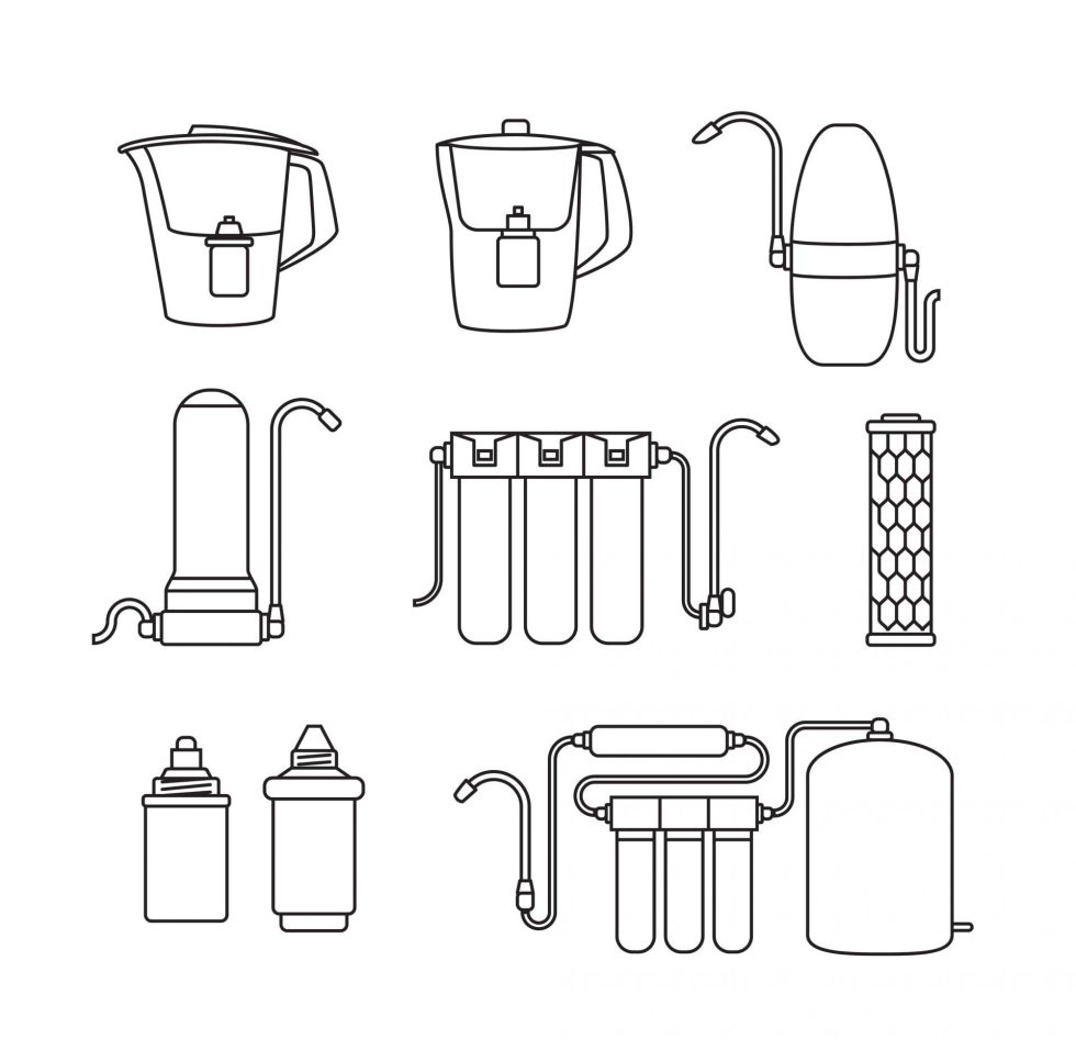 Black and white water filter icons