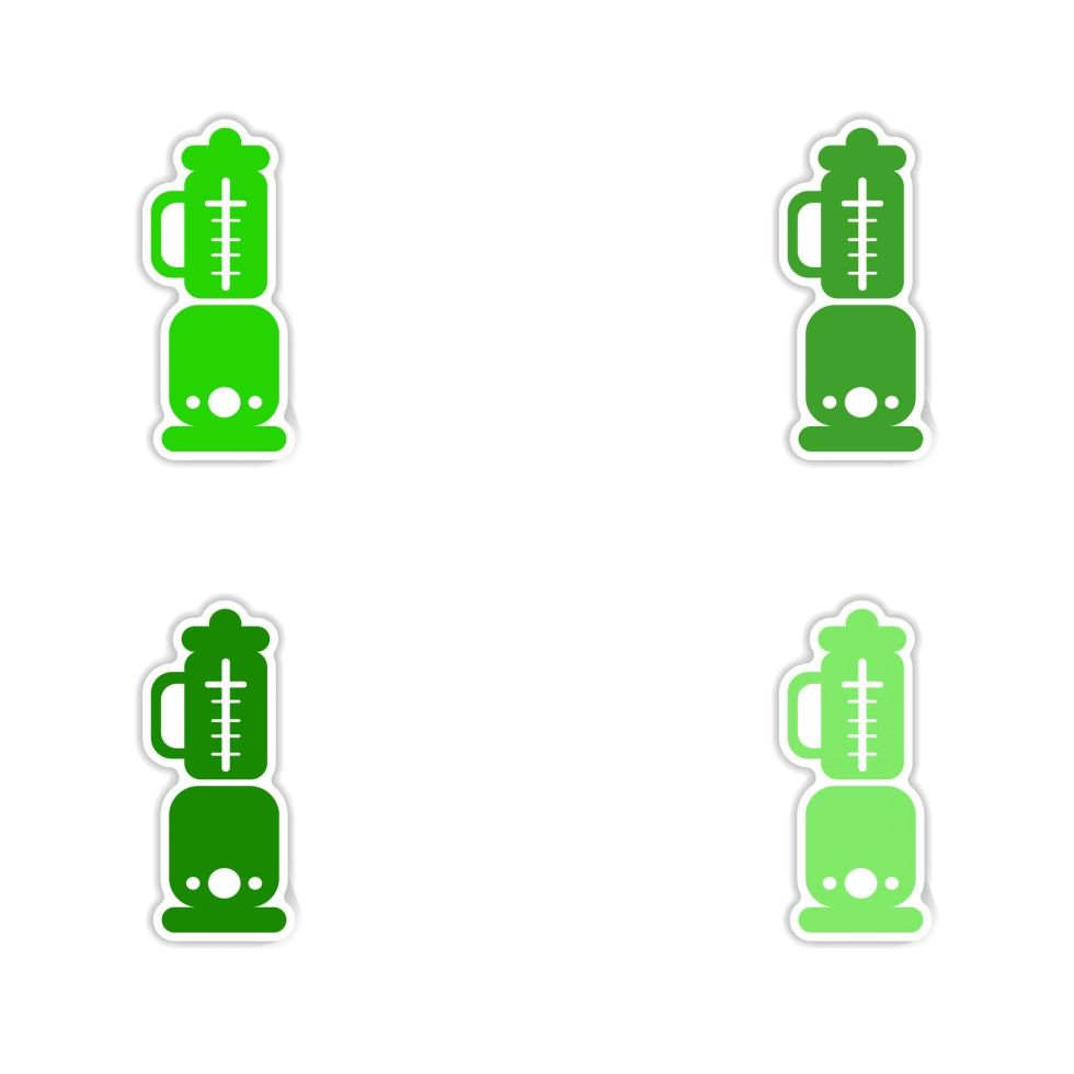 vector of 4 small blenders in different shades of green