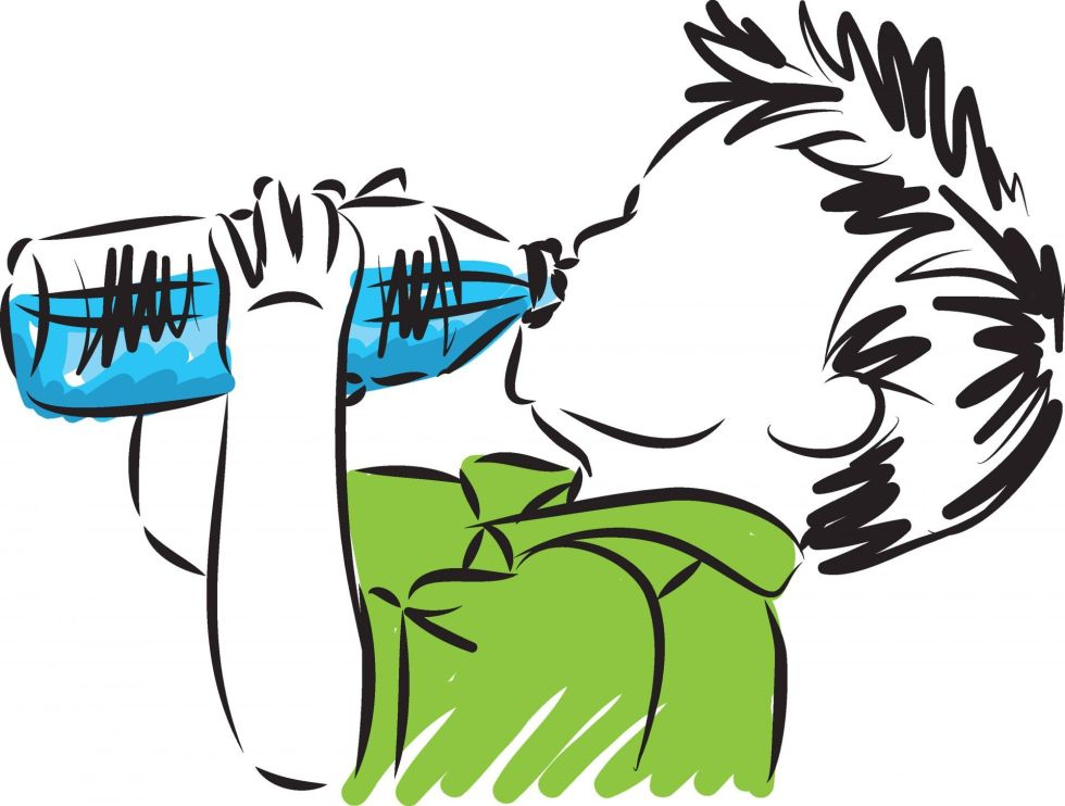 Illustration of a little boy drinking clean water