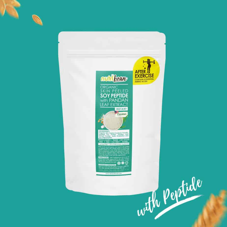 NutriBran Organic Skin Peeled Soy Peptide with Pandan Extract kidney friendly
