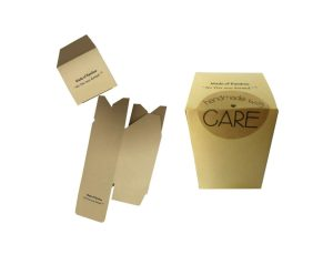 Bamboo Kraft Tuck boxes 2.56 x 2.56 x 3.94 inch Height, 300gsm Bamboo Kraft Paper card