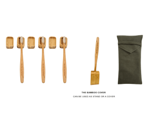 4 Toothbrushes Covers and Stands Olive Bag