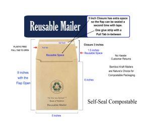 Reusable Bamboo Kraft Mailer 5 x 6 inch