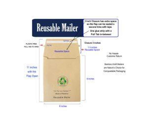 Reusable Bamboo Kraft Mailer 6 x 8 inch