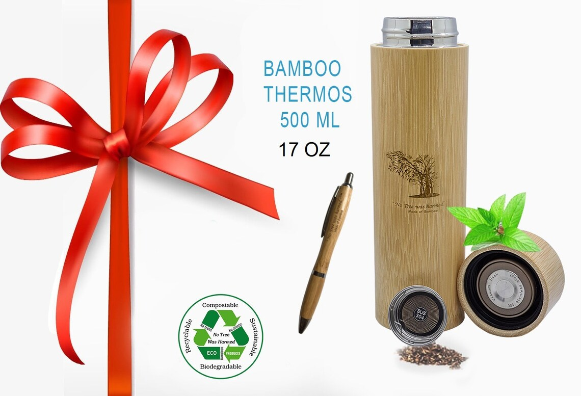 Bamboo Coffee Thermos Tea Thermos with Strainer