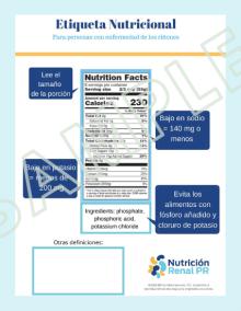 Imagen Etiqueta Nutricional para pacientes