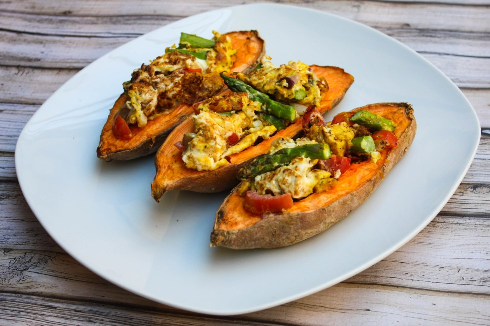 scrambled stuffed sweet potatoes
