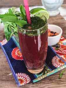 Ginger-Cran Mocktail with Chia, Basil & Mint