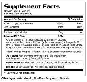 TST supplement facts