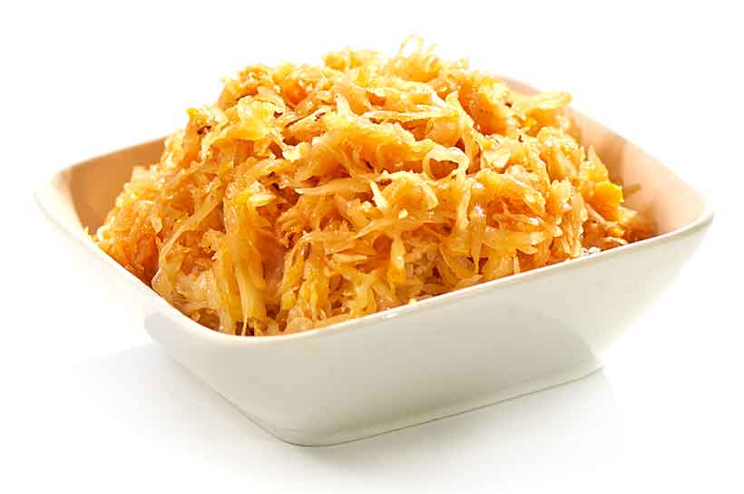 Picture of German Fermented Vegetable Sauerkraut in a White Bowl.