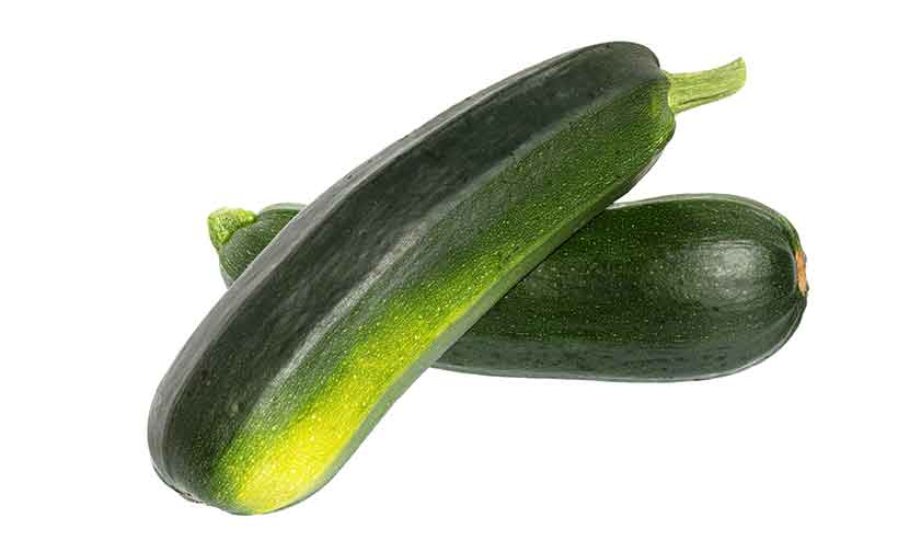 Two Raw Fresh Zucchini (Courgette) Vegetables.
