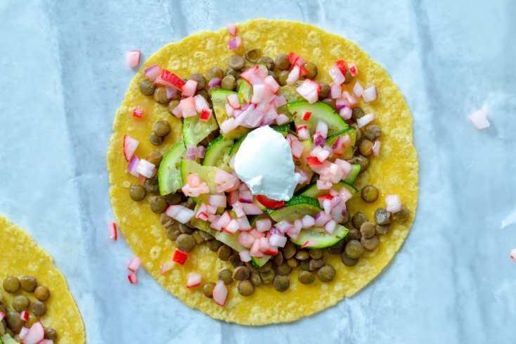 Zucchini & Lentil Tacos with Radish Salsa