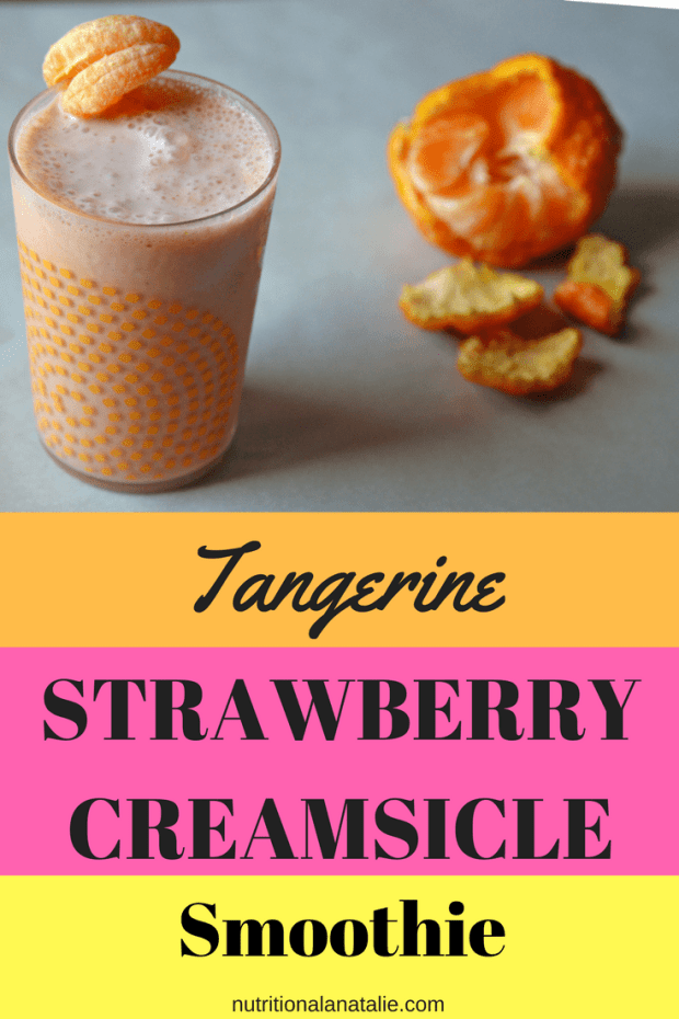 A delicious high protein smoothie. Tangerine & Strawberry Creamsicle Smoothie