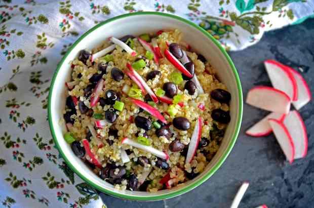 Quinoa Salad with radish, black bean, scallion and honey-lime dressing