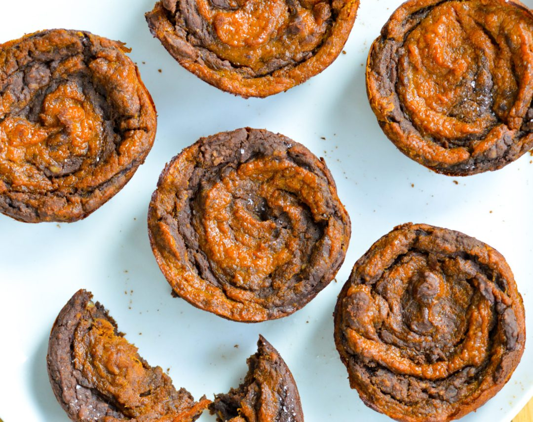 Pumpkin Swirl Salted Brownies are made with just pure maple syrup, black beans and oats. Completely gluten-free and high in protein and fiber. It's a tasty and healthy dessert!