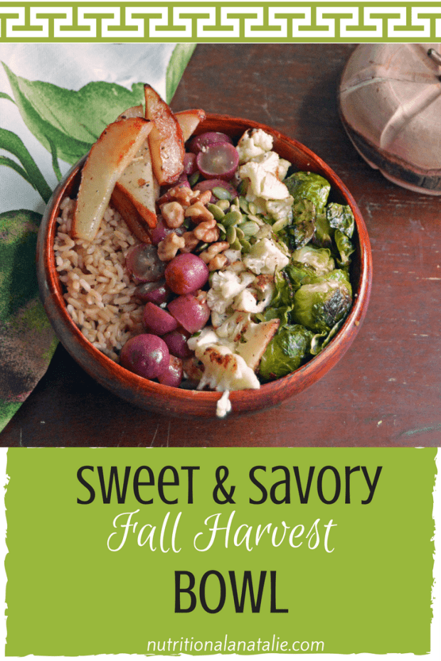 Pinterest picture of Rice bowl with brussel sprouts, cauliflower, roasted grapes and roasted pears
