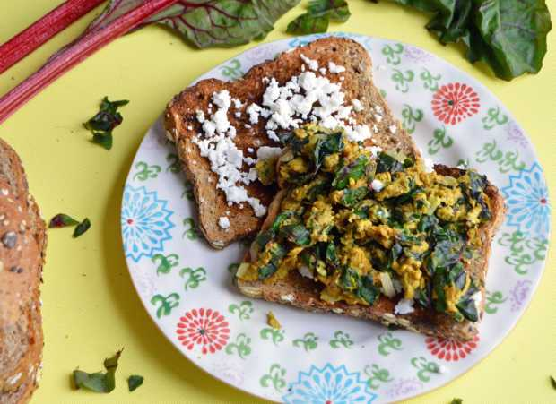 Turmeric Egg Sandwich with Swiss Chard & Feta on Dave's Killer Bread