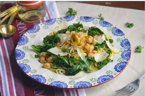 Zucchini Pasta with Kale and Chickpeas in a White Wine Sauce