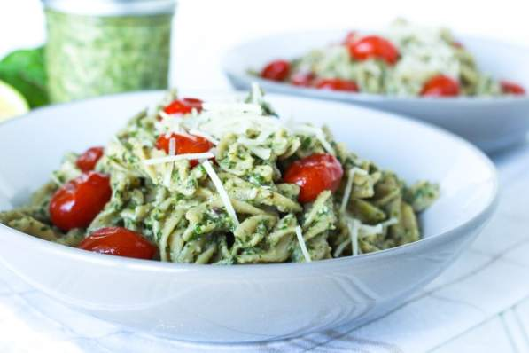 pasta with swiss chard walnut pesto