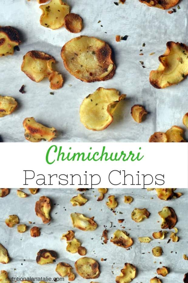Recipe for baked veggie parsnip chips. Gluten-free, vegan and healthy chips