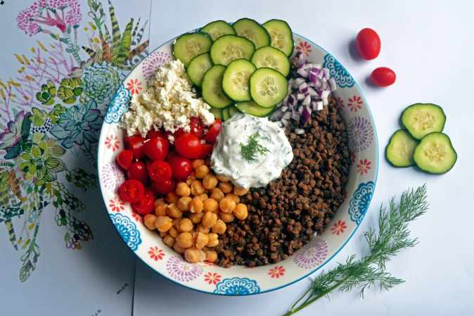 Lentil Salad with cucumbers, feta, tomatoes, chickpeas, onion and greek yogurt dressing